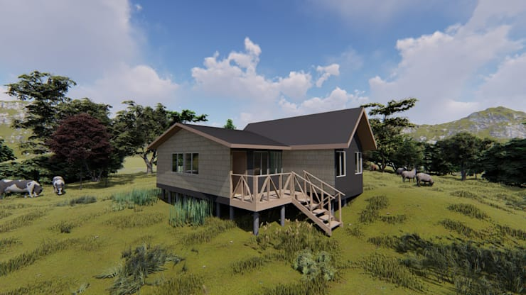 imagen 3d/costado fachada: Casas unifamiliares de estilo  por Ekeko arquitectura