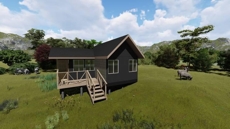 imagen 3d/fachada principal: Casas unifamiliares de estilo  por Ekeko arquitectura