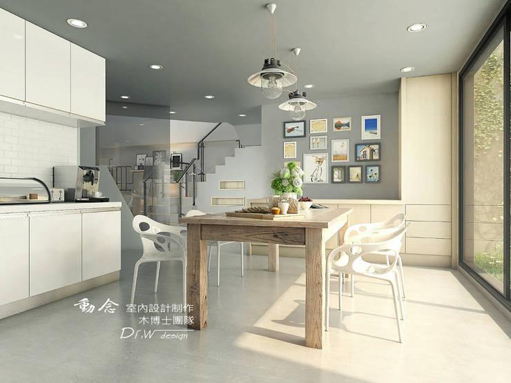 餐廳/廚房/歐式系統廚具/輕工業風:  餐廳 by 木博士團隊/動念室內設計制作