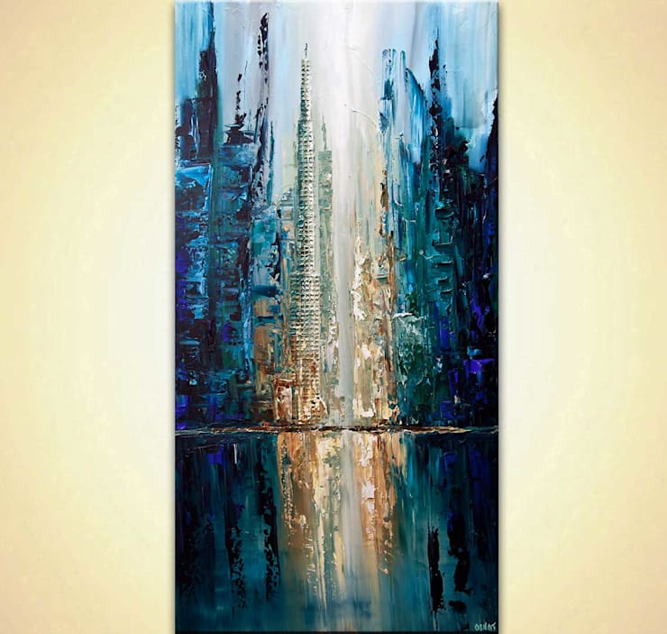 """""""City of Angels"""" - Abstract City Painting - heavy texture, painted with a palette knife by Osnat Tzadok:  Artwork by OSNAT FINE ART"""