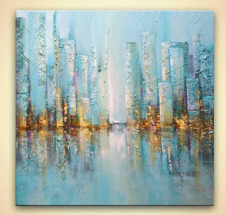 """""""Blue Rise"""" - Modern light blue textured abstract art by Osnat Tzadok:  Artwork by OSNAT FINE ART"""