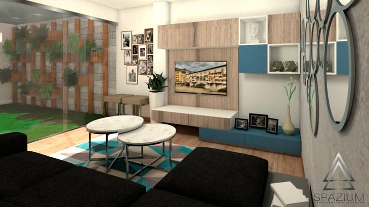 •DISEÑO SALA COMEDOR•: Casas de estilo  por SPAZIUM ARQUITECTURA INTERIOR
