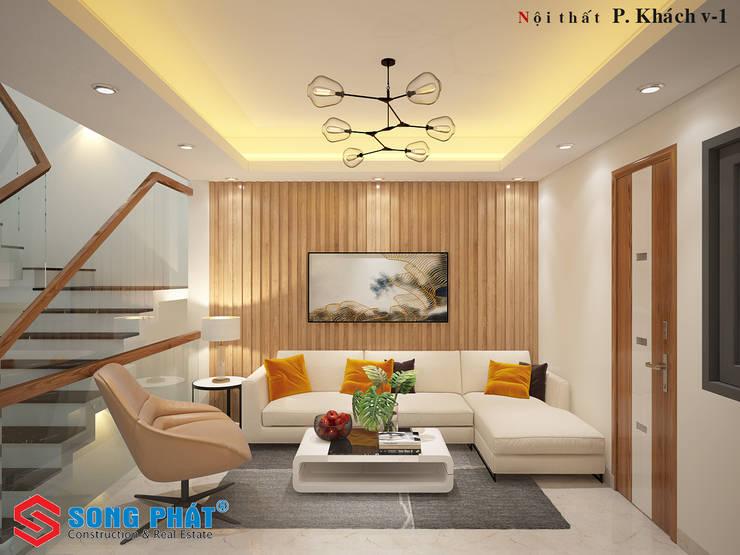 Phối cảnh nội thất phòng khách.:  Phòng khách by Công ty TNHH Thiết Kế Xây Dựng Song Phát