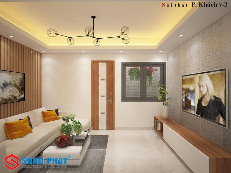 Không gian với tone màu trắng chủ đạo, mang đến sự thoáng sáng.:  Phòng khách by Công ty TNHH Thiết Kế Xây Dựng Song Phát
