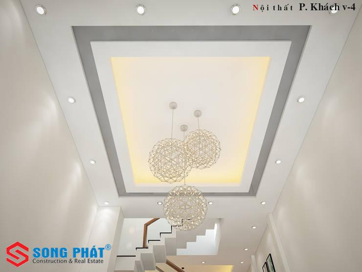 Hệ thống đèn điện được thiết kế ấn tượng:  Phòng khách by Công ty TNHH Thiết Kế Xây Dựng Song Phát