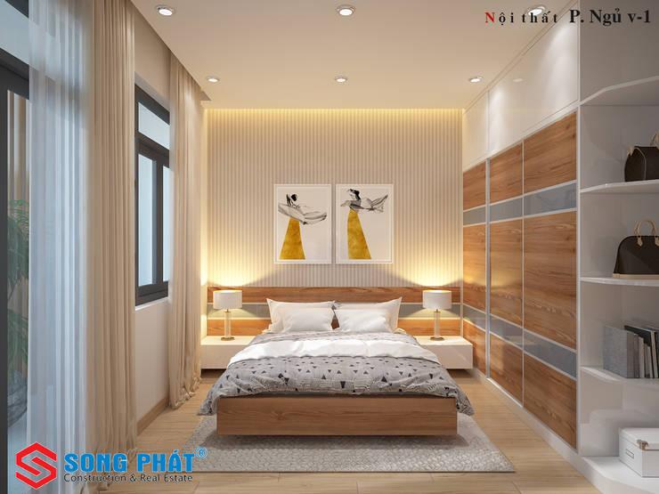Các vật liệu chính được sử dụng là gỗ và đá tự nhiên.:  Phòng ngủ by Công ty TNHH Thiết Kế Xây Dựng Song Phát