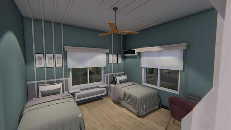 Casa Unifamiliar: Dormitorios de estilo  por Triad Group,Clásico Madera Acabado en madera