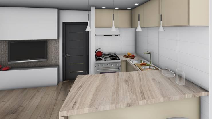 Monoambiente - diseño interior: Cocinas de estilo  por Triad Group,