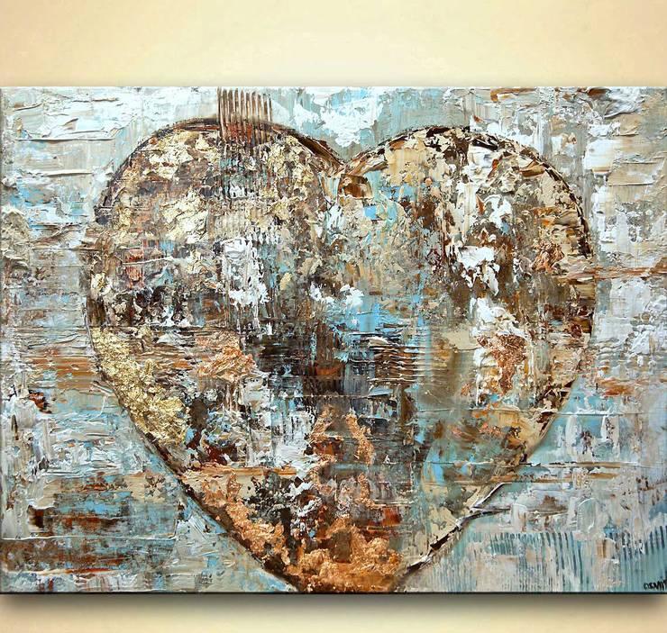 """Artist's Heart"" - original modern abstract art heart painting with gold leaf by Osnat Tzadok:  Artwork by OSNAT FINE ART"
