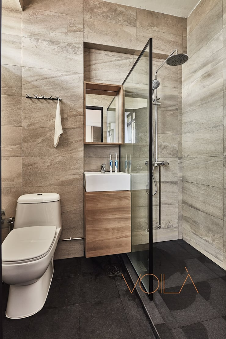 821 Yishun St 81—Industrial :  Bathroom by VOILÀ Pte Ltd,Modern