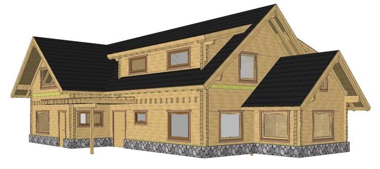 Render de Casa de madera en Pucón, Chile.:  de estilo  por Patagonia Log Homes - Arquitectos - Neuquén