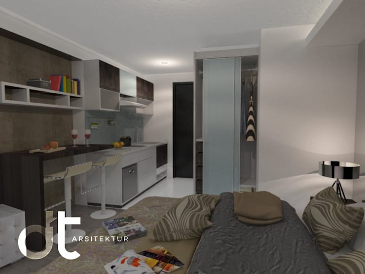 PROJECT APPARTEMEN ICONT BINTARO JAYA TANGERANG SELATAN:  Kamar Tidur by Rumah Desain Tropis