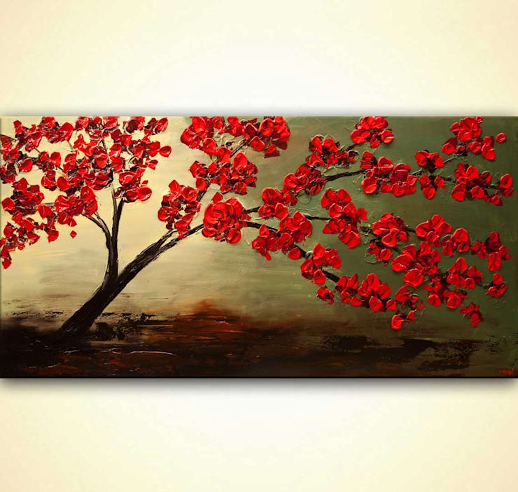 """""""Blossom In My Heart"""" -  blooming tree painting on canvas by Osnat Tzadok:  Artwork by OSNAT FINE ART"""
