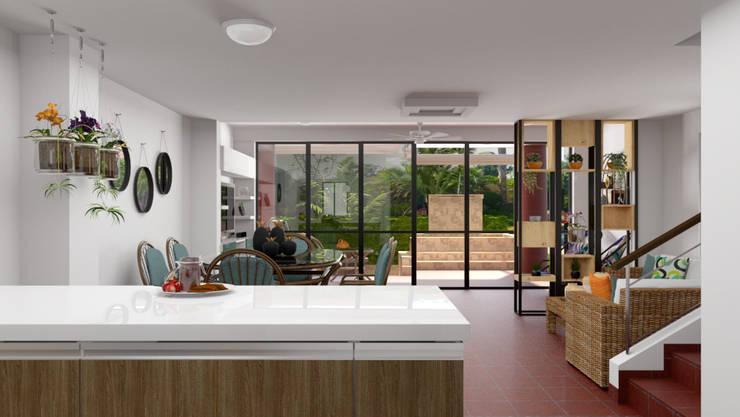 Vista desde la cocina hacia la sala: Cocinas integrales de estilo  por unespacio360