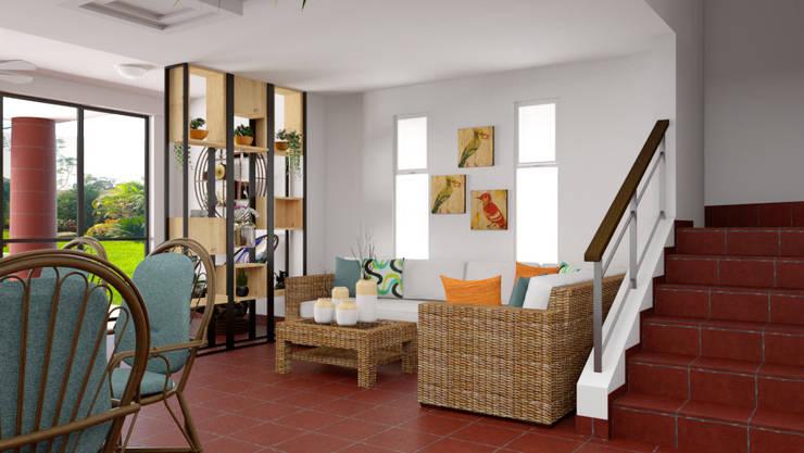 Vista del comedor hacia el estar: Hogar de estilo  por unespacio360
