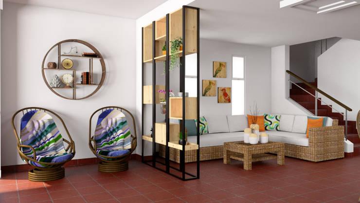 Vista del centro de entretenimiento hacia el estar: Paredes y suelos de estilo  por unespacio360