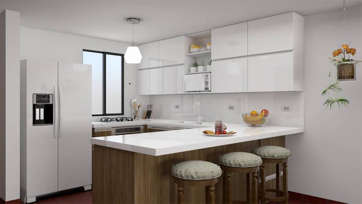 Vista del estar hacia la cocina: Armarios de cocinas de estilo  por unespacio360