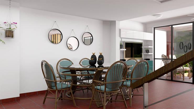 Vista del estar hacia el comedor: Comedor de estilo  por unespacio360