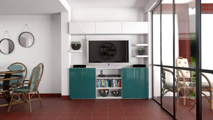 Vista del estar hacia el centro de entretenimiento: Sala multimedia de estilo  por unespacio360