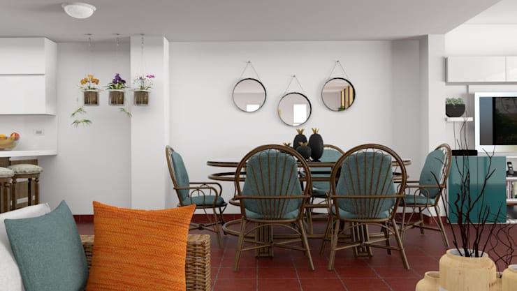 Vista del estar hacia el comedor: Hogar de estilo  por unespacio360