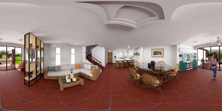 Vista del esespacio en imagen 360°: Salas de estilo rural por unespacio360