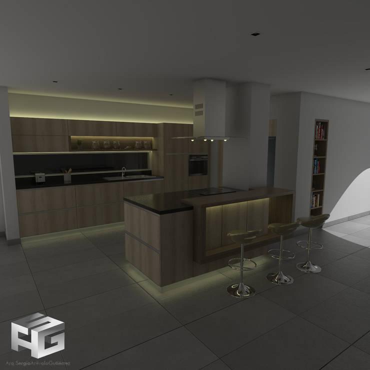 Cocina Rovere Y miel  vista nocturna: Cocinas de estilo  por sergio augusto arevalo gutierrez, Moderno Aglomerado