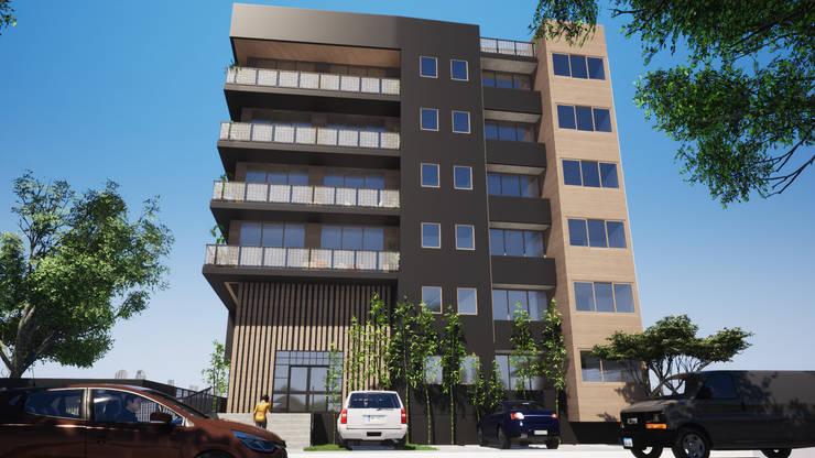 Torre Alma Exterior: Casas de madera de estilo  por Trignum Arquitectura