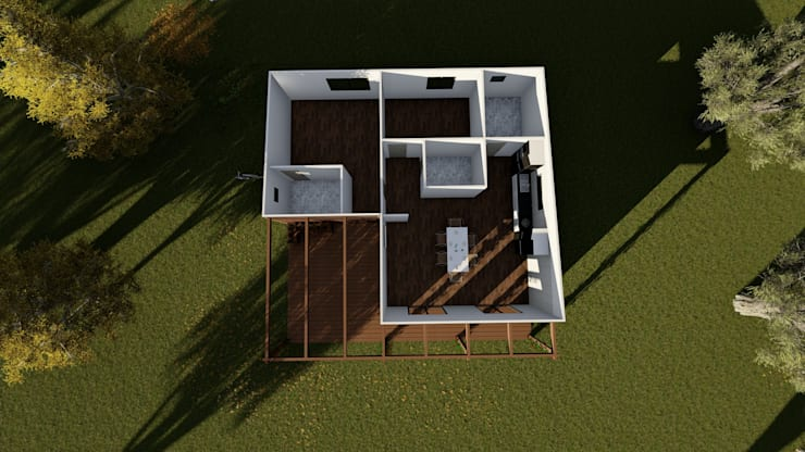 Modelo   T2 123m²: Casas pré-fabricadas  por Discovercasa   Casas de Madeira & Modulares