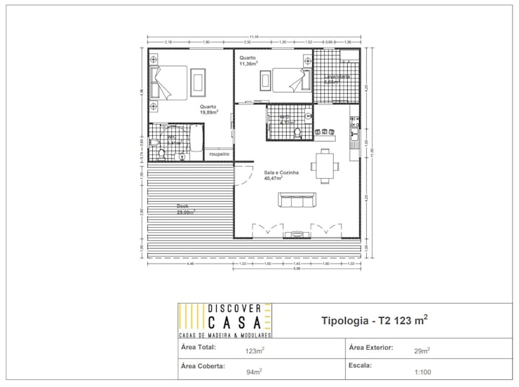 Modelo   T2 123m²: Casas de madeira  por Discovercasa   Casas de Madeira & Modulares