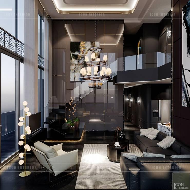 Thiết kế nội thất Penhouse Masteri Millenium – Phong cách hiện đại kết hợp Đông Dương:  Phòng khách by ICON INTERIOR
