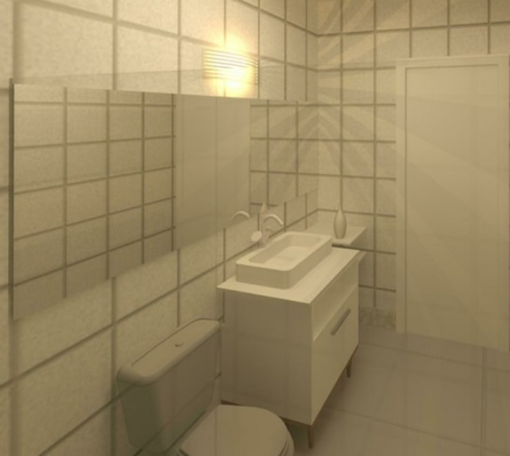 Banheiro com revestimento Porcelanato Branco e Móveis Branco.: Banheiros  por TAFS interiores e 3D