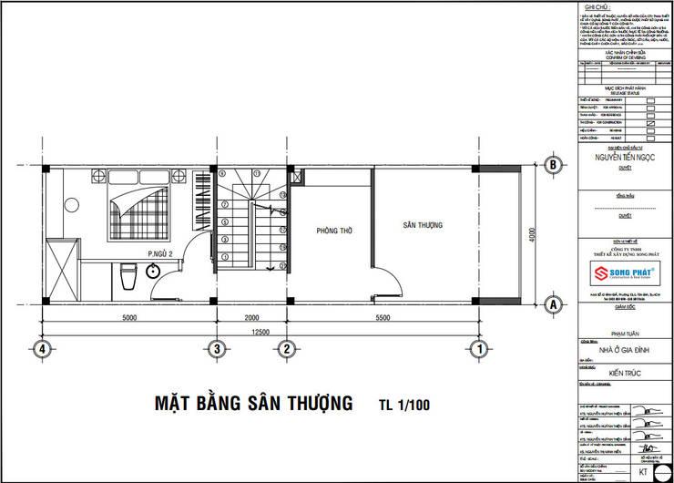Mặt bằng bố trí vật dụng tầng thượng.:  Nhà by Công ty TNHH Thiết Kế Xây Dựng Song Phát