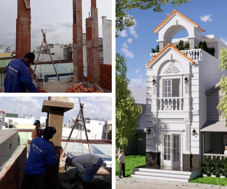 Nhà phố 1 trệt 1 lầu sân thượng sang trọng mang phong cách cổ điển.:  Nhà by Công ty TNHH Thiết Kế Xây Dựng Song Phát
