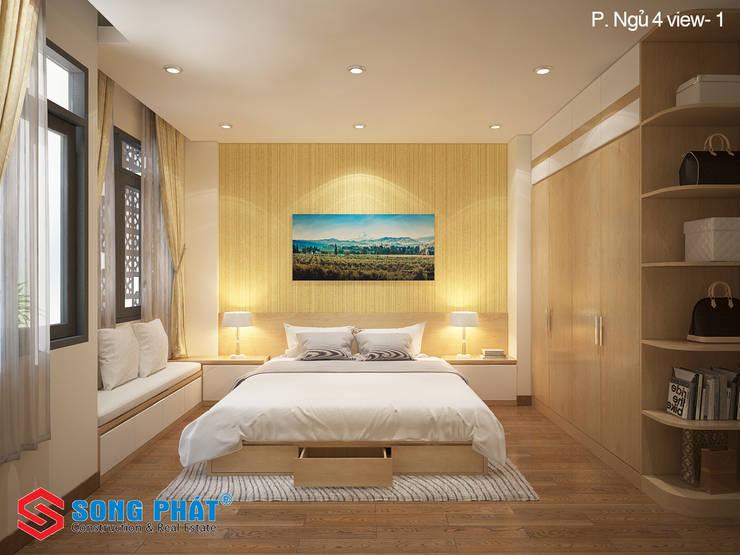 Phòng ngủ được thiết kế với phong cách đơn giản, nhẹ nhàng.:  Phòng ngủ by Công ty TNHH TK XD Song Phát