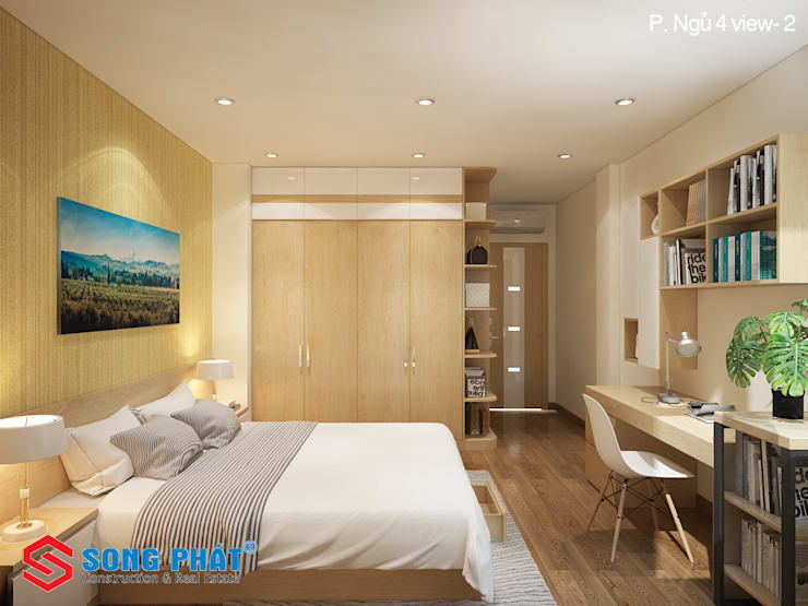 Sử dụng nội thất thông minh giúp bạn tăng diện tích sử dụng trong căn phòng.:  Phòng ngủ by Công ty TNHH TK XD Song Phát