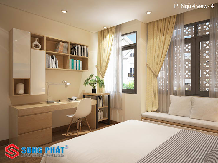 Chiêm ngưỡng thiết kế nội thất trẻ trung bên trong nhà phố 5 tầng:  Phòng ngủ by Công ty TNHH Thiết Kế Xây Dựng Song Phát