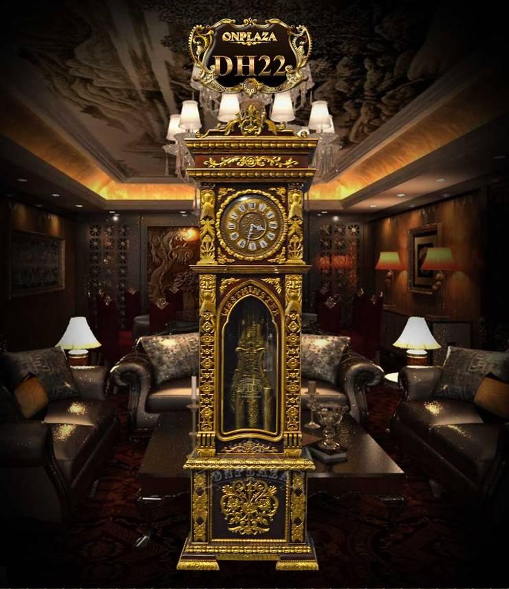 Đồng hồ cây nhập khẩu Đức kiểu cổ DH22 vỏ gỗ gụ mạ vàng:  Windows & doors  by Cửa hàng bán đồng hồ cây gỗ cao cấp ở Hà Nội
