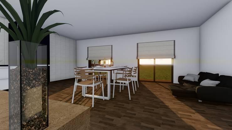 Modelo   T2 123m²: Casas de campo  por Discovercasa   Casas de Madeira & Modulares