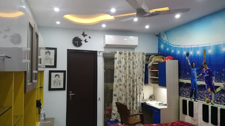 kids room false ceiling ( Music passionate boys):  Bedroom by Design Kreations