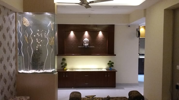 Glass Partition console: modern Living room by Design Kreations