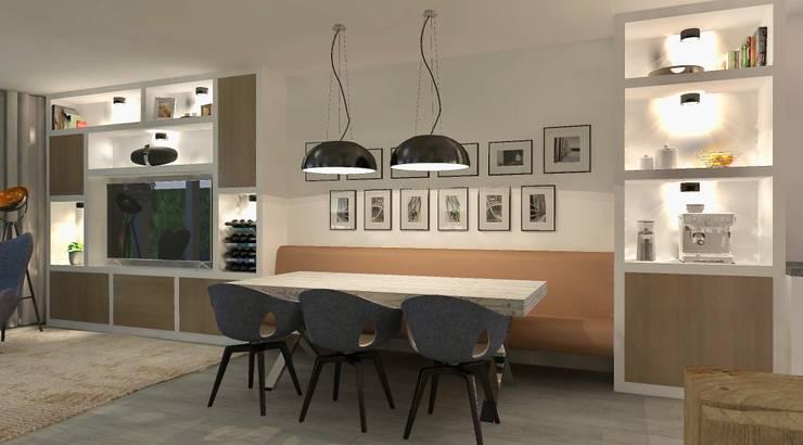 Design Woonkamer Kast : Woonkamer met wandvullende kast en zwevende bank door stefania