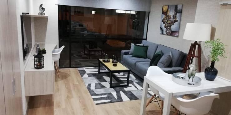 Capital Loft 103: Sala multimedia de estilo  por Mireya Pinilla Interior Design