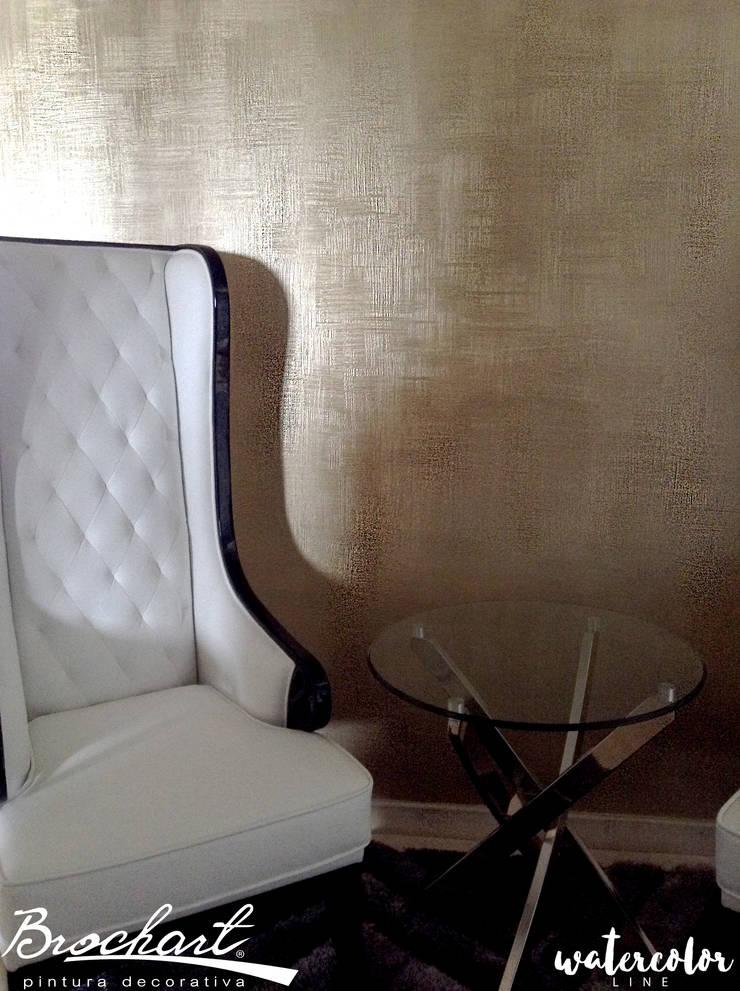 Técnica Lino Acuarela ©: Paredes y pisos de estilo  por Brochart pintura decorativa