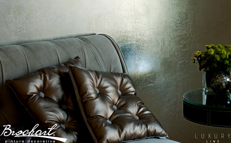 Técnica Hojillado Real 24K ©: Paredes y pisos de estilo  por Brochart pintura decorativa