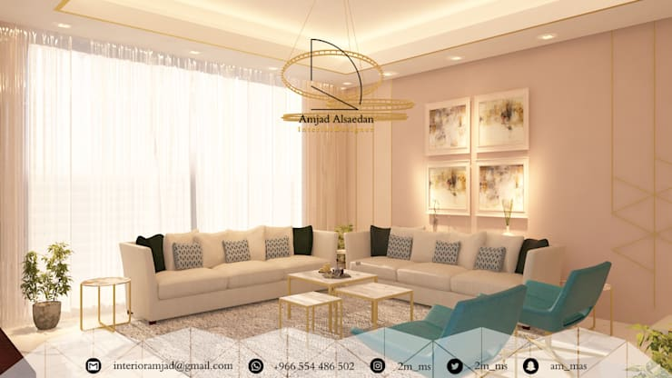 غرفة معيشة - Living room من Amjad Alseaidan حداثي
