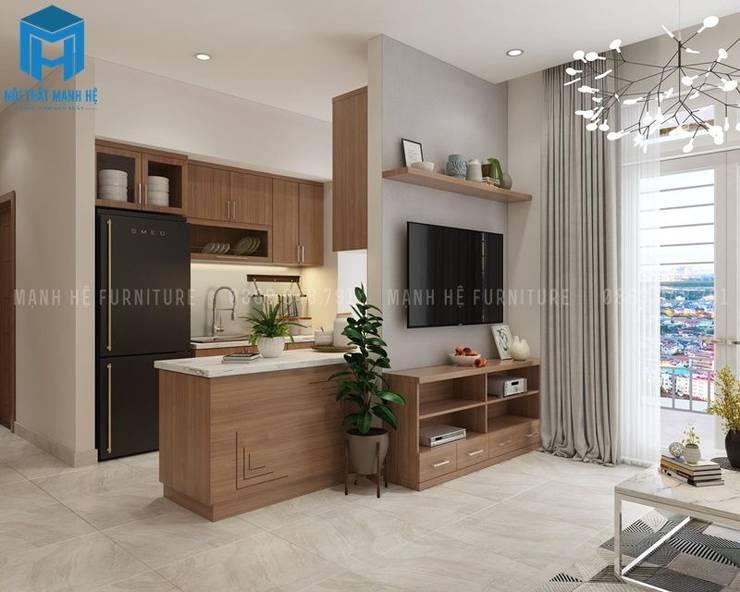 Không gian bếp nhìn từ phòng khách:  Phòng khách by Công ty TNHH Nội Thất Mạnh Hệ