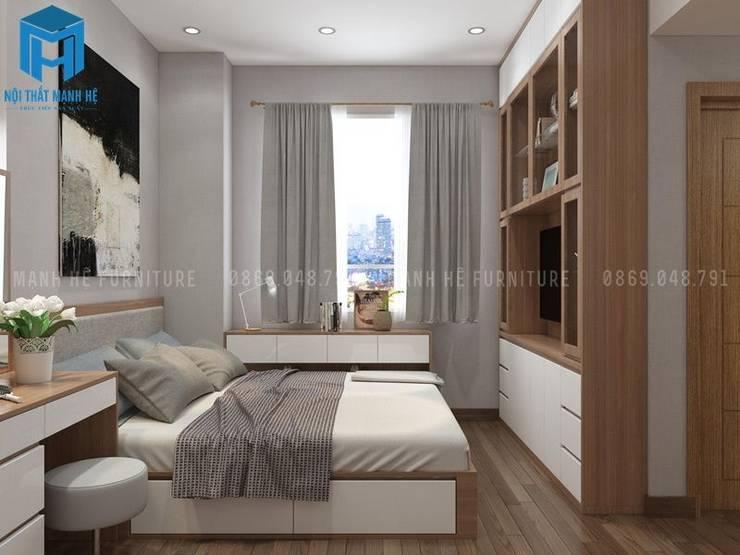 Thiết Kế Nội Thất Phòng Ngủ Chung Cư:  Phòng ngủ by Công ty TNHH Nội Thất Mạnh Hệ