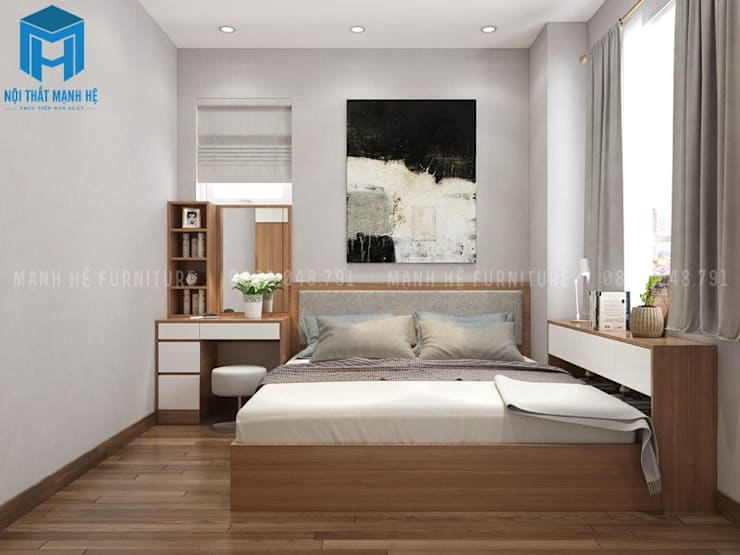 Mẫu Thiết Kế Nội Thất Phòng Ngủ 1:  Phòng khách by Công ty TNHH Nội Thất Mạnh Hệ