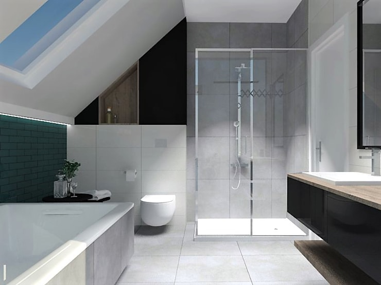 łazienka Z Wanną I Prysznicem Na Poddaszu Profesjonalista Projekty