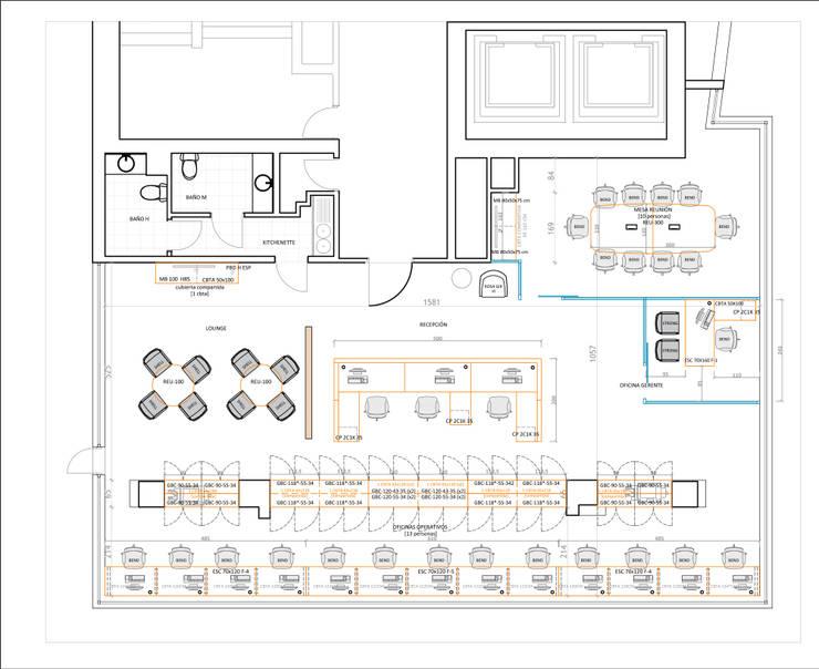 Planta arquitectura oficina:  de estilo  por Lagom Studio